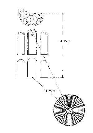 Lage von Fensterrosette und Layrinth